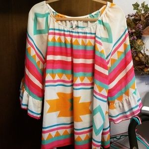 Aztec print bell sleeve blouse